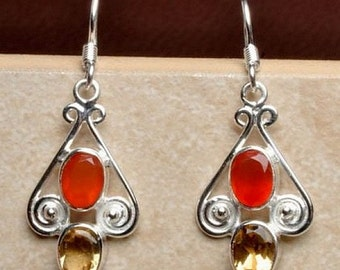 Natural CARNELIAN CITRINE silver EARRINGS