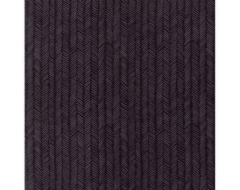 Herringbone print in Charcoal - 1canoe2 cotton fabric by Moda