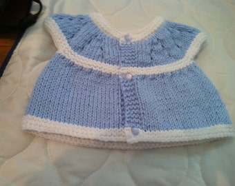 Baby Sweater Light Blue trimmed with white and blue frosted buttons