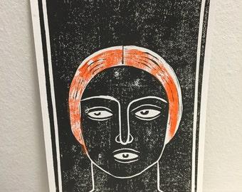 EYEGAG / hand pressed block print Linocut
