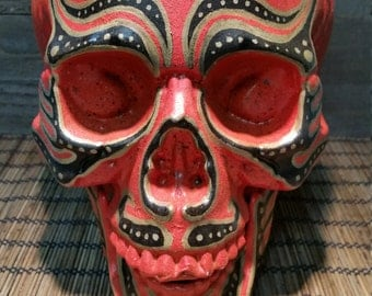 One of a kind, hand painted, Day of the dead skulls
