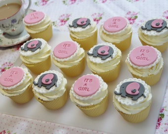 "12 pink and grey baby elephant ""IT'S A GIRL"" fondant cupcake toppers. Baby shower party/gift"