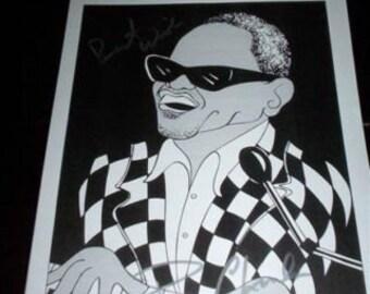 Unique et rare Ray Charles signé Dessin Print pour une fondation pour enfant Toronto Canada  GEORGIA ( Voir The Beatles )