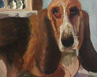 "Bassett Hound 12 x 12 x 1.5"" Original Oil Painting by Richard F. Williams"