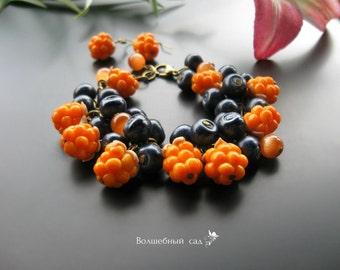 Jewelry Set Berries Bracelet Earrings Polymer clay bracelet Polymer clay earrings