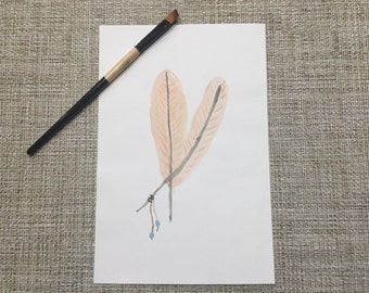 Original Art Print - Watercolor Painting - Feathers in Peach, Gray, Grey, Turquoise Beads - 9x6 Artwork