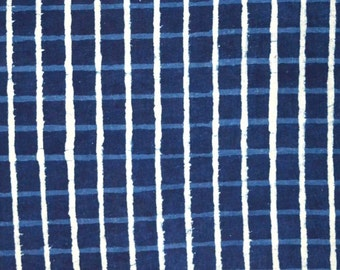 Blue And White Check Print Cotton Fabric by the Yard