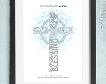 Personalised Christening Baptism Word Art Print Gift Bespoke Unique Present Celebration Congratulations Picture