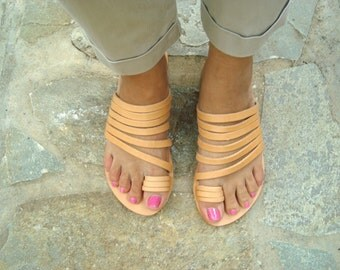 Strappy sandals, Handmade sandals, Greek sandals, Leather sandals, Toe ring sandals, Womens sandals, Aphrodite