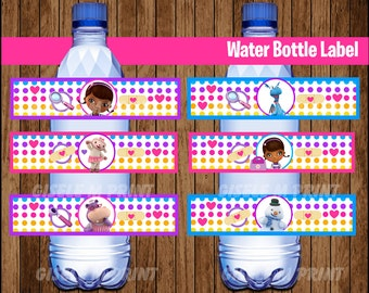 Doc McStuffins Water Bottle Label, Printable Doc McStuffins Water labels, Doc McStuffins party Water instant download