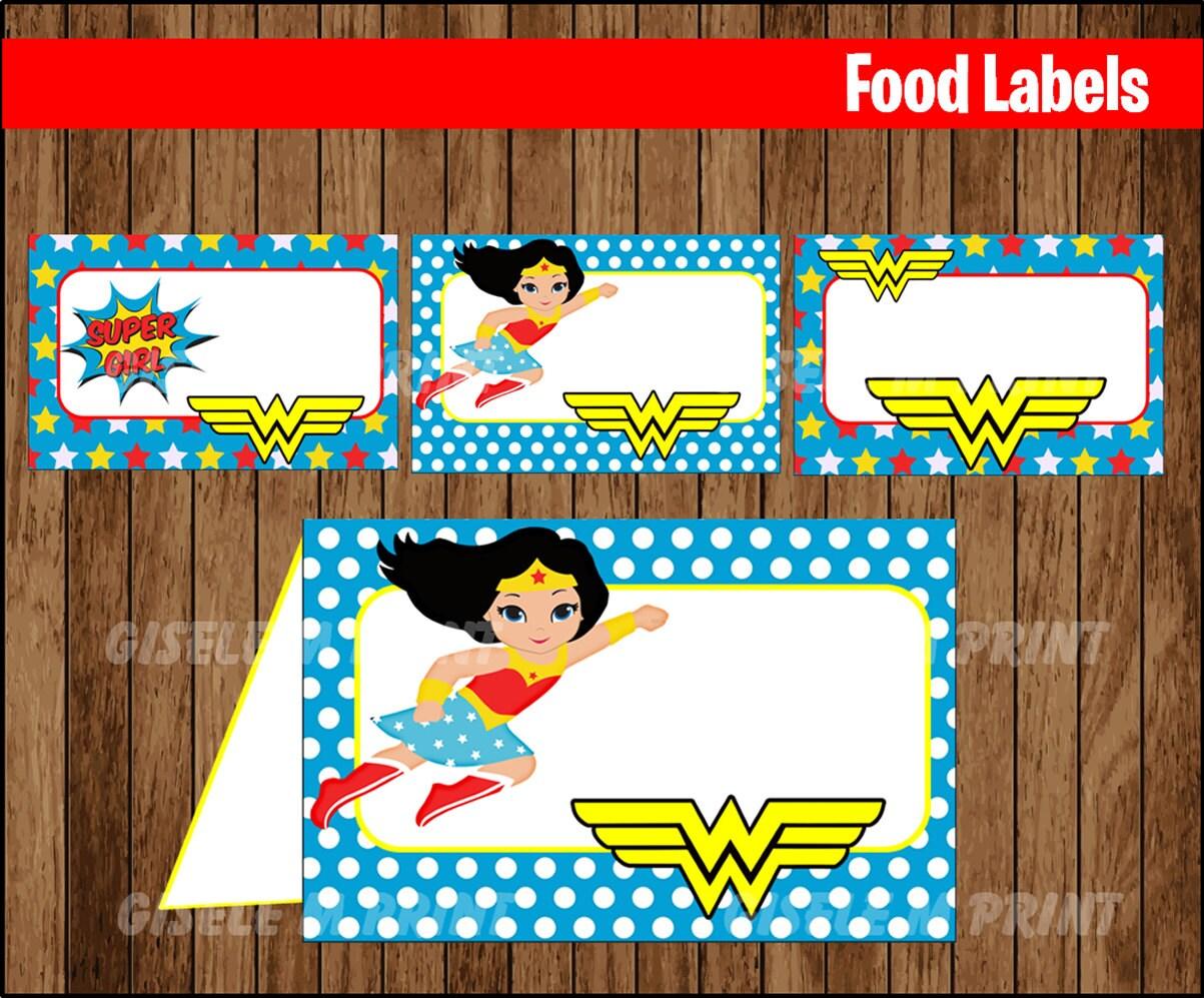 Wonder Woman Food Labels Printable Wonder Woman Food Tent
