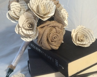Bridal Bouquet - Book Page and Burlap Flowers