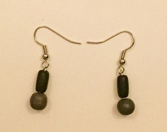 Handmade One of a Kind Black and Gray Earrings