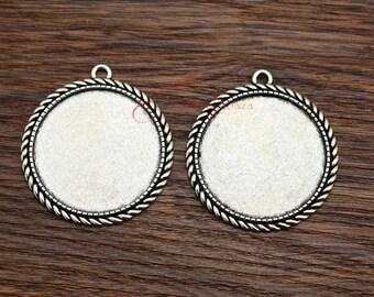 5pcs--Handmade Antique Silver Round Cameo Setting Charm Pendants, inner 35 mm LM035-498