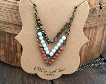 Antique Brass Chevron Necklace