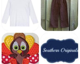 Boys turkey / thanksgiving shirt / pants set