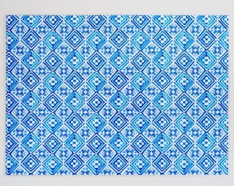"Dish mat ""Rhombic Blue"""