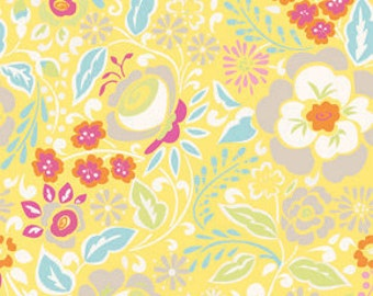TAZA by Dena Designs Free spirit fabric Lisa in Yellow, white grey red blue flowers by the yard