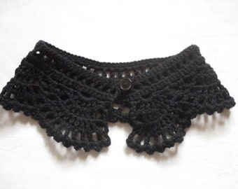 Crochet collar lace Peter Pan collar collar BLACK cotton crocheted selfmade