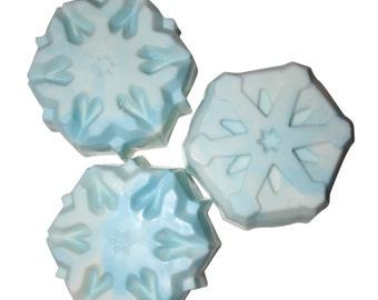 Snowflake Soap- Winter Soap- Essential Oil Soap- White soap- Blue Soap- Sensitive Skin Soap- Baby Soap- Natural Soap- fun soap- kids soap