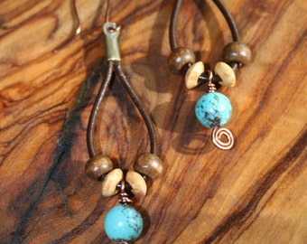 Handcrafted Copper Leather Wood Turquoise Dangle Earrings