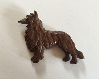 Vintage Carved Wood Dog Brooch Pin
