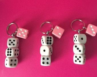 Bunco Bunco Pink & White Dice Key Chain Key Ring set of Three