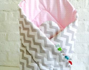 Squirrel puck towel for BABIES, newborn baby, blanket, sleeping bag, CHEVRON