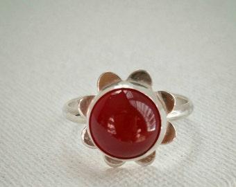 Carnelian Cabochon Sunburst Ring, Sterling Silver Sunburst Ring, Carnelian Sterling Silver Ring, Bohemian Carnelian Ring, Red Gemstone Ring