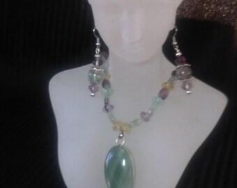 Genuine Flourite Gemstone Necklace and Earring Set