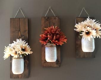 Fall Wall Sconce | Individual Mason Jar Sconce | Flower Vase Mason Jar | Rustic Decor | Painted Mason Jar | Floral wall sconce
