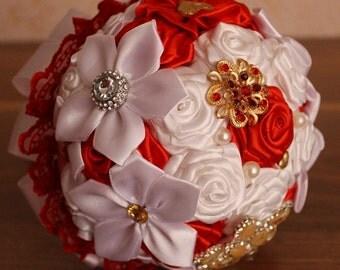 Red bridesmaid bouquet . Red wedding bouquet.