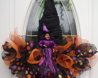 Halloween Witch Hat Wreath | Witch Wreath | Halloween Wreath |Front Door Wreath | Witch Wall Decor | Halloween Wall Decor | Best Door Decor