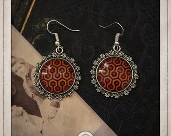 SHINING silver cabochons earrings 20mm round Shining carpet the BOCA016 Overlook Hotel
