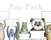 Customizable Animal Illustration Greeting Cards - Beef Buddies: Zoo Pack