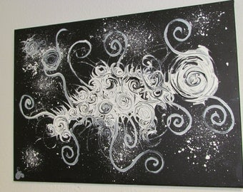 Abstract acrylic painting 70 x 50 cm wall painting on canvas black and white