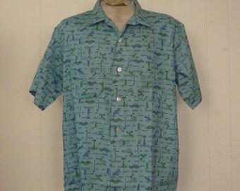 Vintage shirts, 1960s, Rockabilly shirt, all over print, retro shirt, retro shirts, Homme, Nos, Large