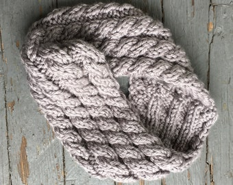Chunky Cabled Cowl -- Super Bulky Cowl Silver Grey - FREE SHIPPING