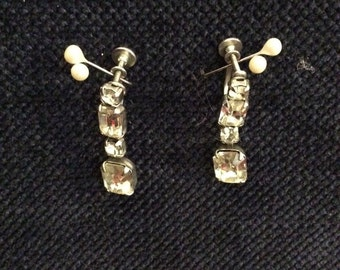 Vintage Screw-Back Rhinestone Earrings