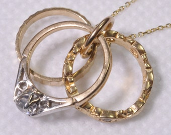 Vintage 9ct Gold Triple Ring Charm Necklace