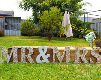 Mr and Mrs Wooden Lace Letters