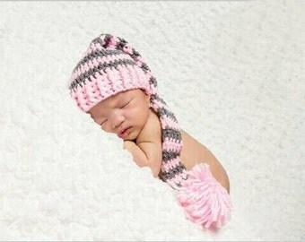 Baby girl Newborn pink and gray elf hat. Photo prop