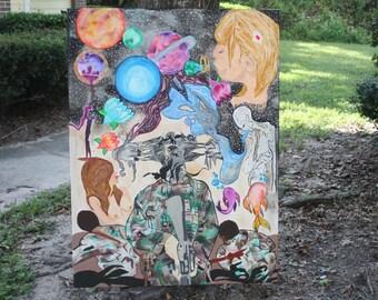 Far From Home: Surreal Mixed Media ORIGINAL CANVAS or Art Prints