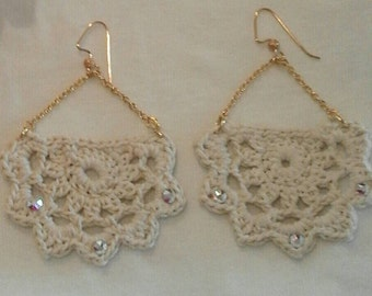 Crochet earrings with Rhinestones