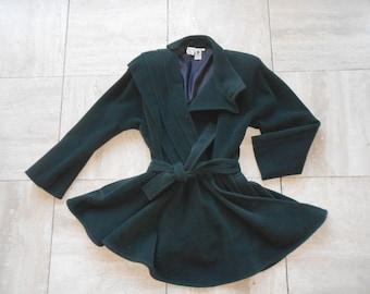 Emanuel Ungaro : green woollen coat, vintage 80's