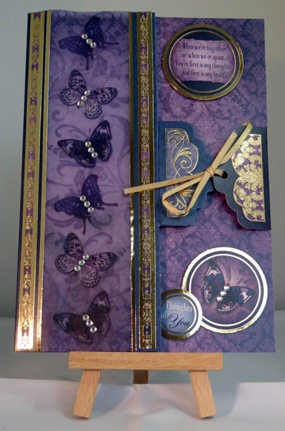 Female Birthday/Just for you Butterflies Handmade Card - luxury personalised quality bespoke UK - Mum/Grandma/Daughter/Aunt/Niece/Sister