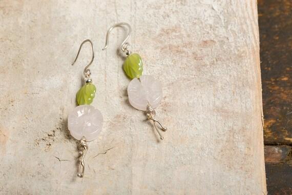 Earrings Flower of Quartz silver Rose 925 - Sheet pearls of Bohemia