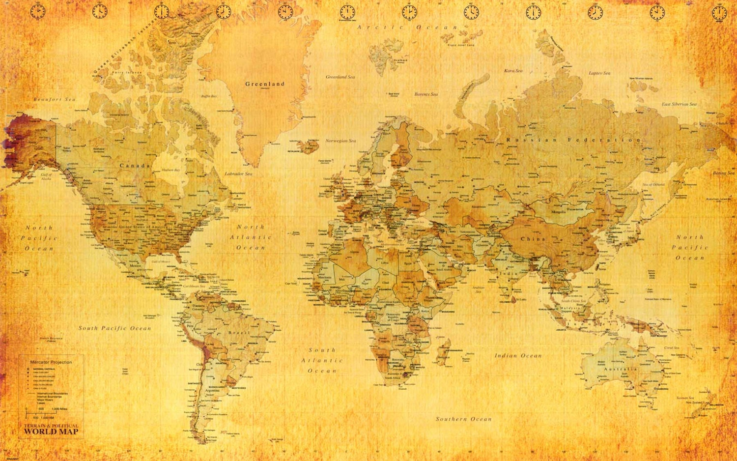 World Map Full Laminated Color Political Poster Wall Chart A1
