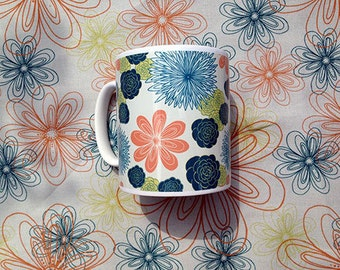 Off-Cream Busy Garden Mug