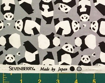 Pandas on Grey, Sevenberry, Japanese Import Fabric, 100% Cotton Sheeting Fabric